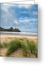 Beautiful Blue Sky Morning Landscape Over Sandy Three Cliffs Bay Greeting Card