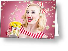 Beautiful Girl Watching Premier At Movie Theater Greeting Card
