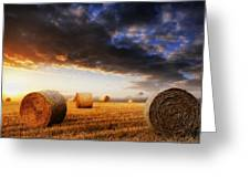 Beautiful Hay Bales Sunset Landscape Digital Painting Greeting Card by Matthew Gibson