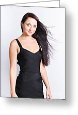 Beautiful Model With Long Straight Brunette Hair Greeting Card