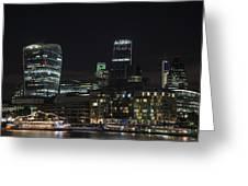 Beautiful Night City Skyline Landscape Image Of City Of London Greeting Card