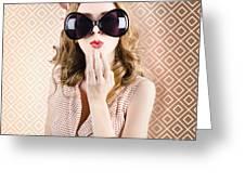 Beautiful Surprised Girl Wearing Big Sunglasses Greeting Card