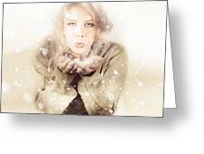 Beautiful Young Woman Blowing Snow In Winter Style Greeting Card