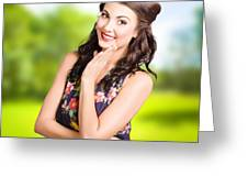 Beauty Girl. Beautiful Young Woman With Clean Skin Greeting Card