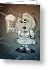 Beer Stein Dirndl Oktoberfest Cartoon Woman Grunge Monochrome Greeting Card
