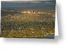 Bellvue Skyline At Sunset Greeting Card