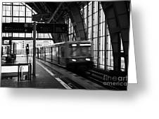Berlin S-bahn Train Speeds Past Platform At Alexanderplatz Main Train Station Germany Greeting Card