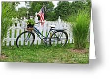 Bicycle And White Fence Greeting Card