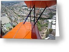 Biplane Over San Diego Greeting Card