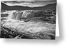 Black And White Waterfall Greeting Card
