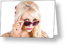 Blond Woman In Sunglasses Greeting Card