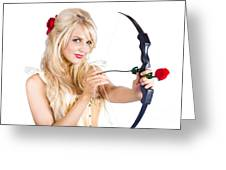 Blond Woman With Cupid Bow Greeting Card