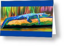 Blue Alligator Greeting Card