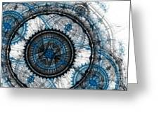 Blue Clockwork Greeting Card