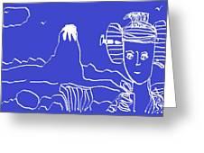 Blue Geisha Greeting Card