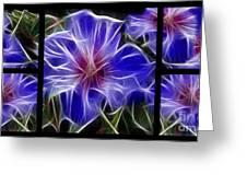 Blue Hibiscus Fractal Greeting Card