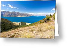 Blue Surface Of Lake Hawea In Central Otago In New Zealand Greeting Card