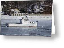 Boat And Ice Hobart Beach Ny Greeting Card