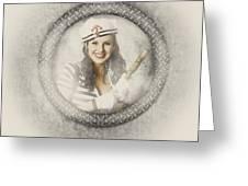 Boating Pin-up Woman On Nautical Shipping Voyage Greeting Card