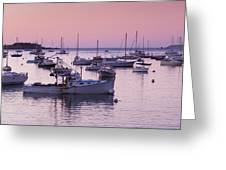 Boats In The Atlantic Ocean At Dawn Greeting Card