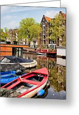 Boats On Canal In Amsterdam Greeting Card
