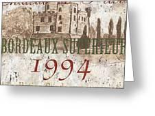 Bordeaux Blanc Label 2 Greeting Card