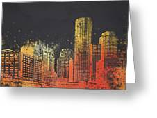 Boston City Skyline Greeting Card by Aged Pixel