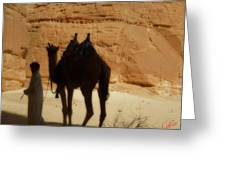 Bou Bou Camel With Beduin Owner  Greeting Card