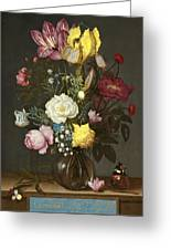 Bouquet Of Flowers In A Glass Vase Greeting Card