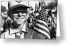 Boy Scout Veteran's Day Parade Tucson Arizona 1990 Black And White Greeting Card