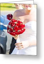 Bride Holding Red Rose Flower Bunch Greeting Card