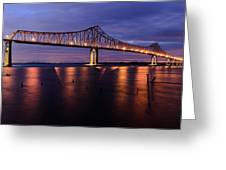 Commmodore Barry Bridge In The Blue Hour Greeting Card