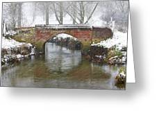 Bridge Over River In A Snowstorm Greeting Card