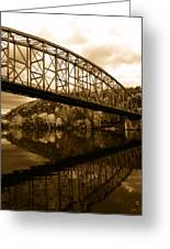Bridge Reflections In Autumn Greeting Card