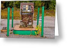Broken And Abandoned Fuel Pump Greeting Card