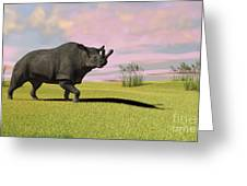 Brontotherium Grazing In Prehistoric Greeting Card