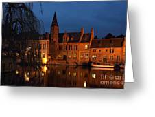 Bruges Rozenhoedkaai Night Scene Greeting Card by Kiril Stanchev