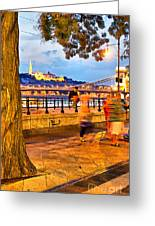 Budapest By Night Paint Greeting Card