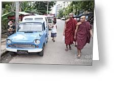 Buddhist Monks In Yangon Street Myanmar Greeting Card