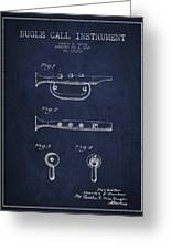 Bugle Call Instrument Patent Drawing From 1939 - Navy Blue Greeting Card