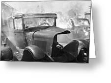 Burning Car Circa 1942  Greeting Card