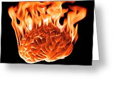 Burning Human Brain Greeting Card