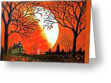 Burning Leaves Greeting Card