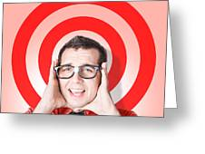 Business Man In Fear On Target Background Greeting Card
