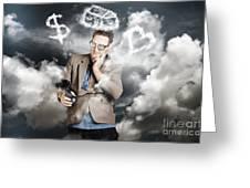 Business Man Planning Work Life Balance Strategy Greeting Card