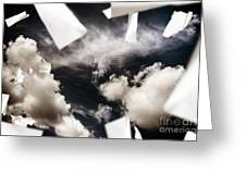 Business Papers Falling In The Sky Greeting Card