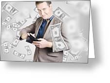 Businessman Under Falling Money. Financial Success Greeting Card