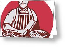 Butcher Cutter Worker Meat Cleaver Knife Retro Greeting Card