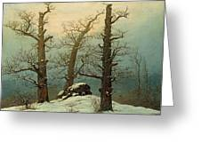 Cairn In Snow Greeting Card