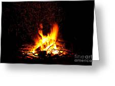 Campfire As A Symbol Of Warmth And Life On Black Greeting Card